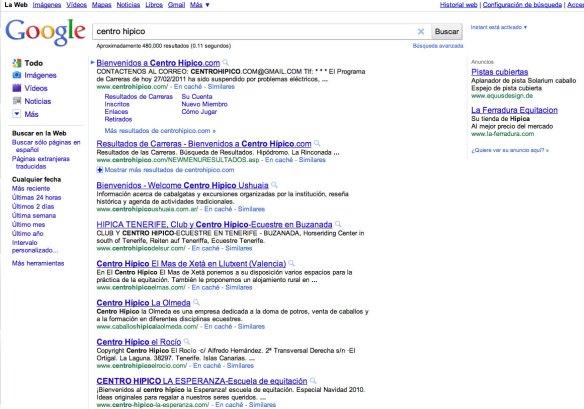 Buscando Centro Hípico en Google