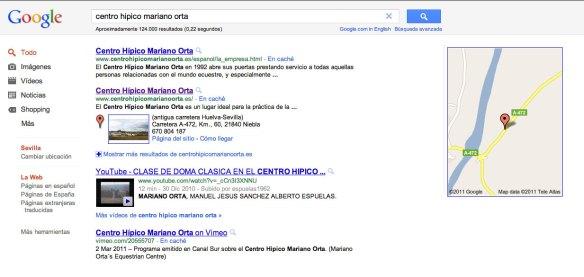 Resultado búsqueda Centro Hípico Mariano Orta en Google