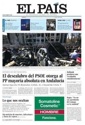 portada de El País con la encuesta del #25M