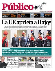 Última portada del diario Público en su versión impresa