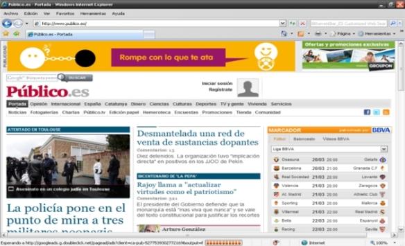 Versión digital del periódico Público