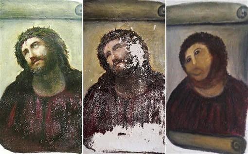 Imagen de la pintura, antes y después de la restauración realizada por Cecilia
